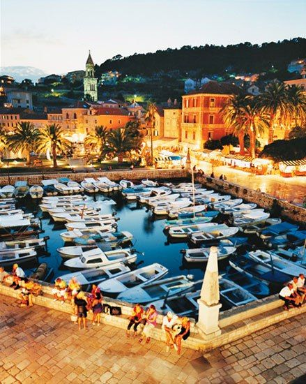 In Hvar Town, a view of the port and the centrally located Palace Hotel.  can't wait to be there again! T -5 days!