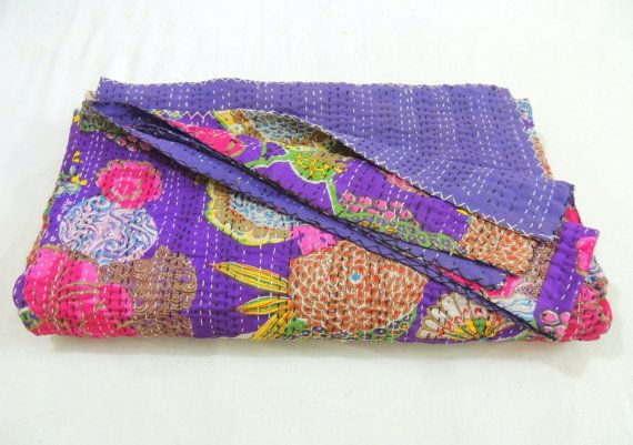 REVERSIBLE COTTON BLOCK PRINT HANDMADE KANTHA QUILT THROW BLANKET BEDSPREAD BED COVER BEDDING INDIA BOHO BOHEMIAN TAPESTRY* KANTHA is a traditional I...