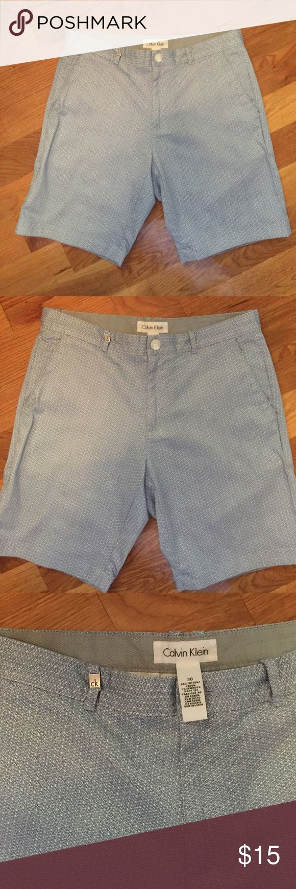 Calvin Kevin shorts Blue and white shorts by designer Calvin Klein means there are designer details like emblem on belt loop extra stitching detail on pockets...  two front deep pockets and two rear pockets all deep enough for phone😀98% cotton makes these cool and machine washable. Size 30 Calvin Klein Shorts