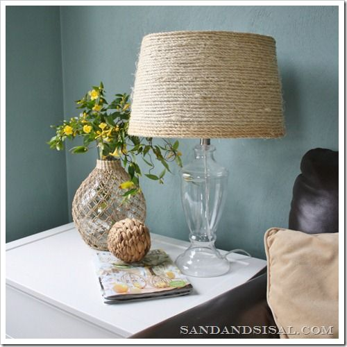 Sisal Rope Lamp Shade. first off this is cute for a table lamp. could do it to a chandelier that has shades as longs as it's silver or some other color besides brass or gold. But I'm pretty sure I want to find a big cheap drum shade and do this in replacement of my white paper lantern!