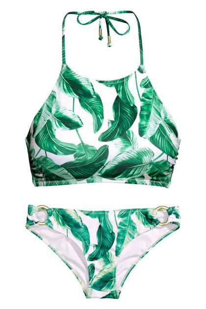 Cheap and fashionable bikinis and swimwear...palm tree print high neck two piece