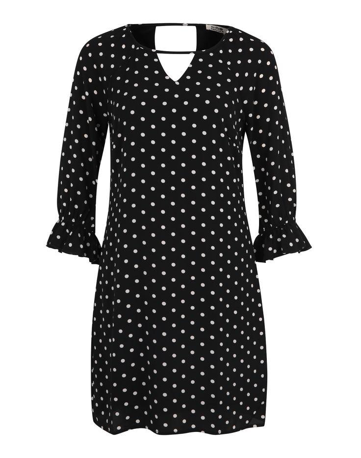 Molly BRACKEN Gewebtes Blusenkleid mit Polkadots in schwarz