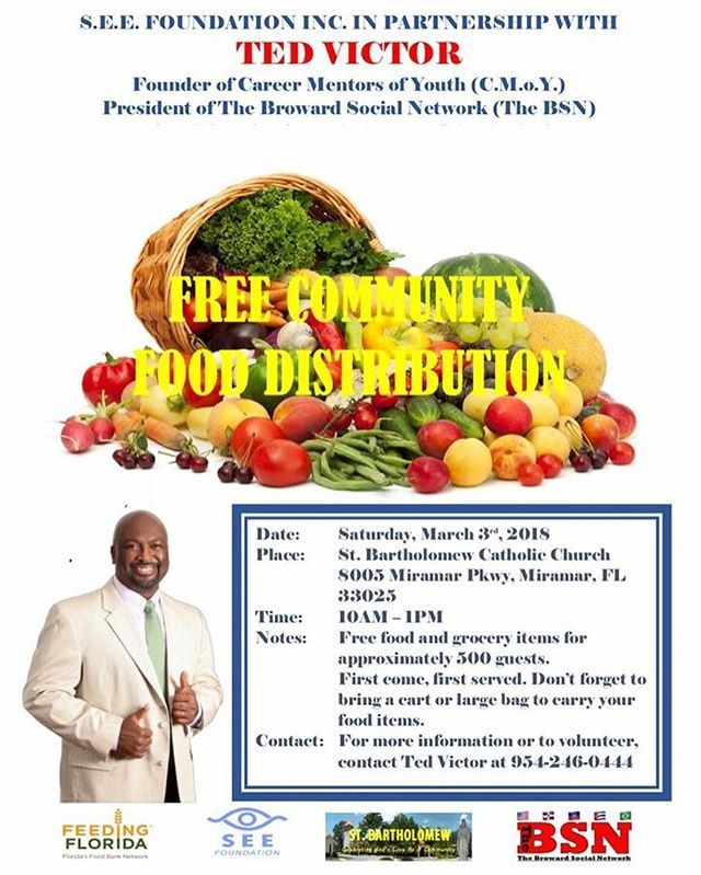 The Broward Social Network invites you the residents of East Pembroke Pines to a FREE FOOD distribution at St. Bartholomew Catholic Church 10AM to 1PM Saturday morning March 3rd 2018. Families in need are welcome.  FIRST COME FIRST SERVED.  If you are willing and able to volunteer please arrive at 8AM.  PLEASE SHARE!  #TheBrowardSocialNetwork