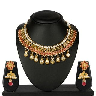 VK Jewels Nine Drops Gold Plated Necklace with Earrings- NKS 1075G [VKNKS1075G]