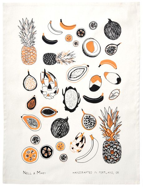 Tropical Fruit Tea Towel - Apricot
