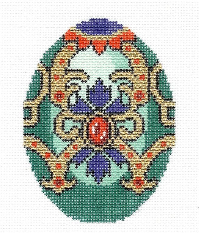 LEE DECEMBER Turquoise Birthstone EGG OF THE MONTH handpaintd Needlepoint Canvas