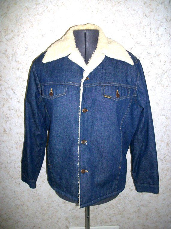 7ca3c3ba3f Vintage 70s Sears Roebuck Denim Jean Sherpa Lined Jacket Rancher Chore Coat  Button Front Western Cowboy Winter Coat Unisex Mens Womens