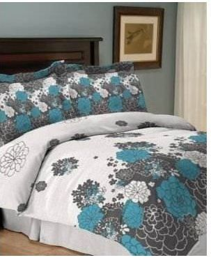 Jessica Sanders Loft 4 Piece Queen Comforter Set Bed In A Bag Teal White Black Loft Bags And