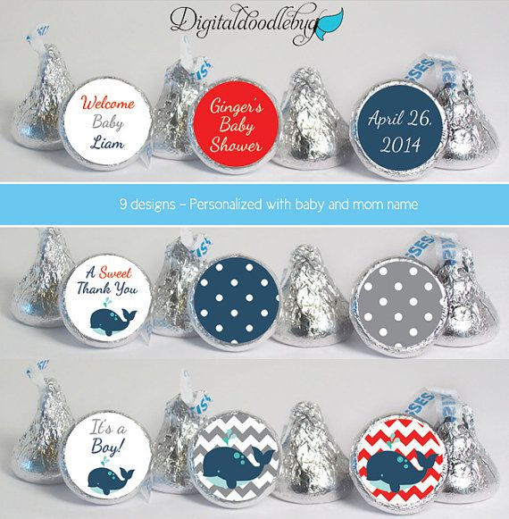 Baby shower favor stickers for HERSHEY'S KISSES by digitaldoodlebug, $12.00