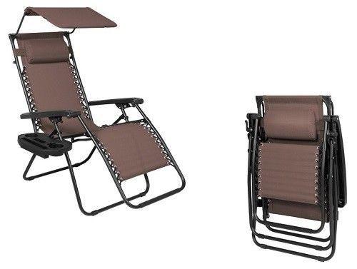 Zero Gravity Lounge Chair Brown Steel Canopy Shade Outdoor Patio Furniture New #ZeroGravityLoungeChair #Modern
