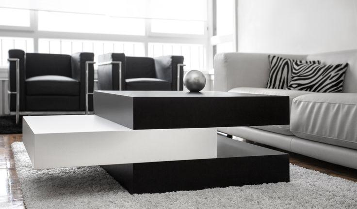 Mesa de centro Pensilvania. Mesa modular de madera lacada en blanco y negro, un  atractivo diseño como homenaje a la arquitectura norteamericana de Lloyd. www.woodsson.com