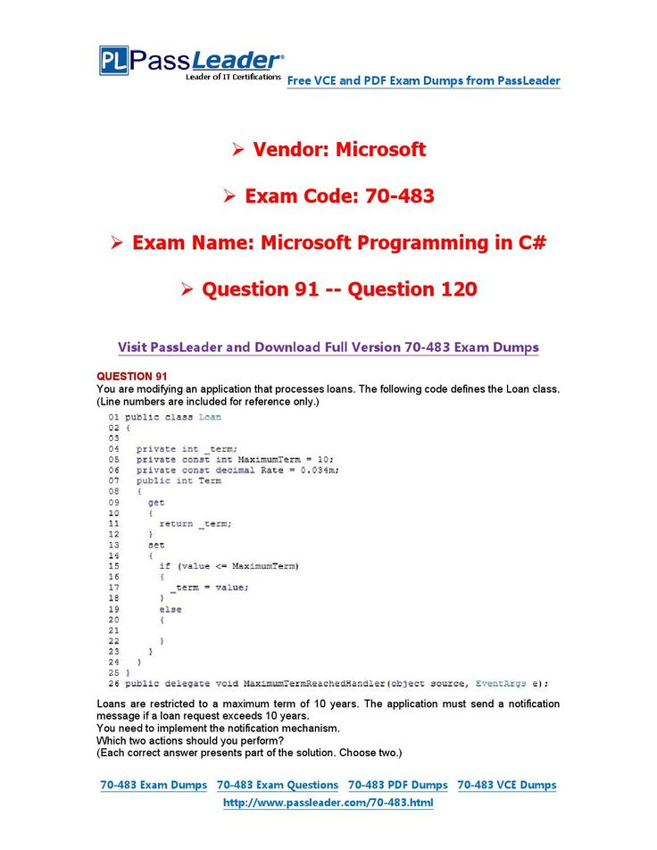 70-483 Exam Dumps with PDF and VCE Download (91-120)