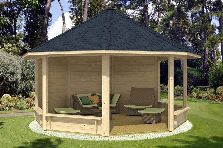 runden pavillon selber bauen mit sessel möbliert