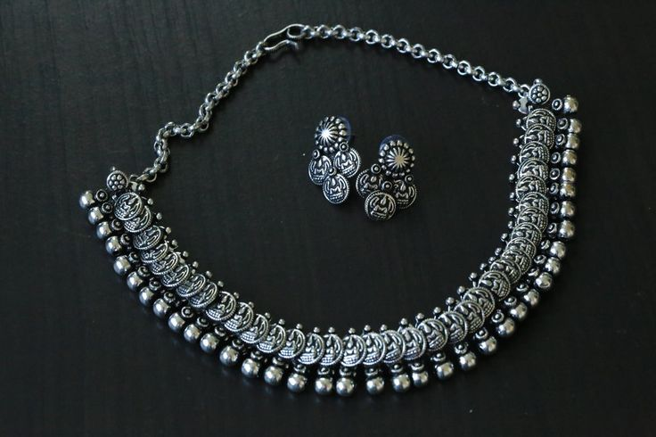Silver Lakshmi / Laxmi Coin Necklace - AristaBeads Jewelry - 6