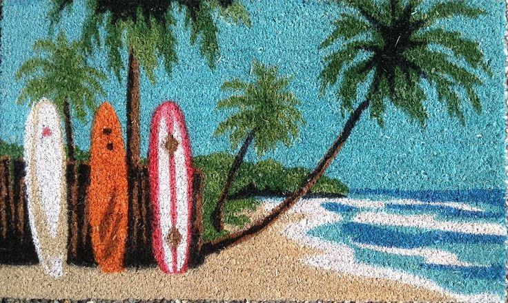The Gecko Shack - Surfboard Beach Scene coir fibre entry door mat 75cm, $29.95 (http://www.geckoshack.com.au/surfboard-beach-scene-coir-fibre-entry-door-mat-75cm/)