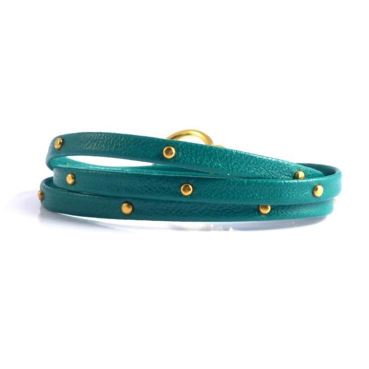 Gorjana Graham Teal Leather Studded Bracelet