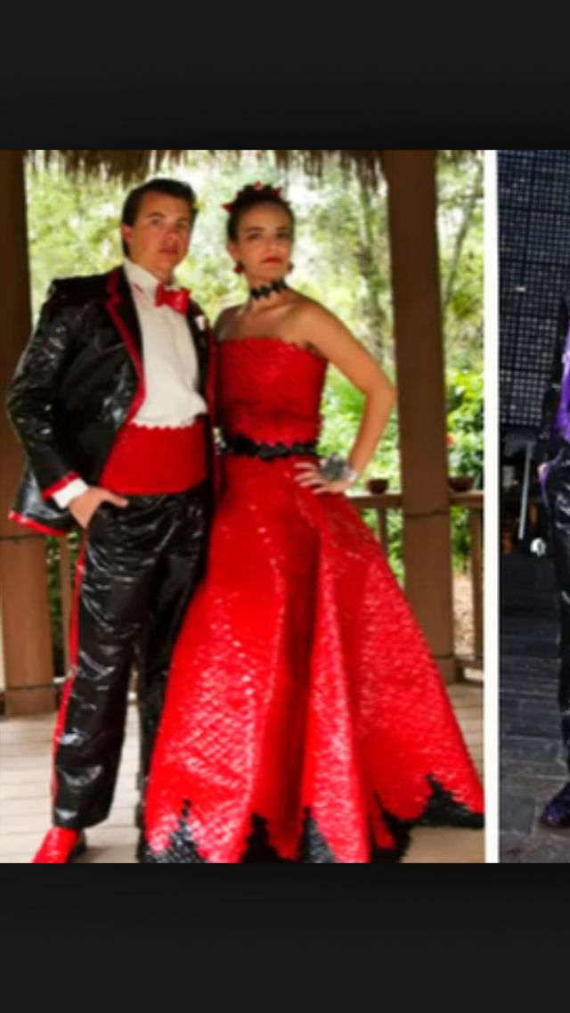 Red and black duct tape outfits