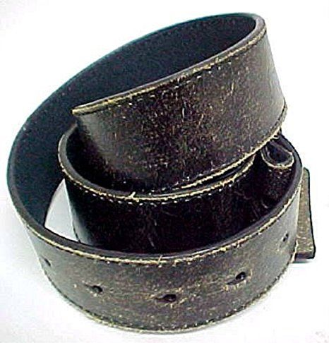 Vintage Look Distressed Black Leather Strap Belt Snap Size: Small 30-32 inches