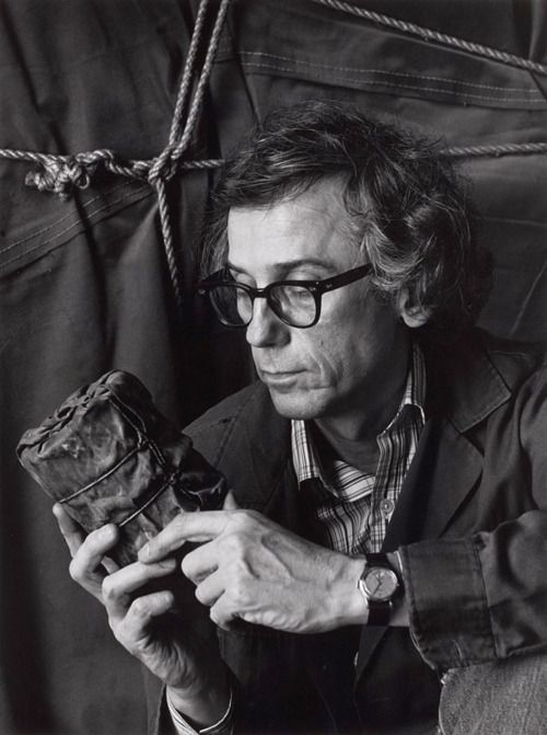 Christo, at his New York studio with his first wrapped piece, New York, 1985 -by Abe Frajndlich