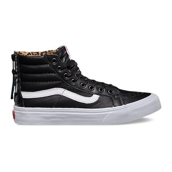 Leather SK8-Hi Slim Zip ($80) ❤ liked on Polyvore featuring shoes, sneakers, vans, black, high top, vans sneakers, black leather shoes, zipper sneakers, high top sneakers and leather shoes