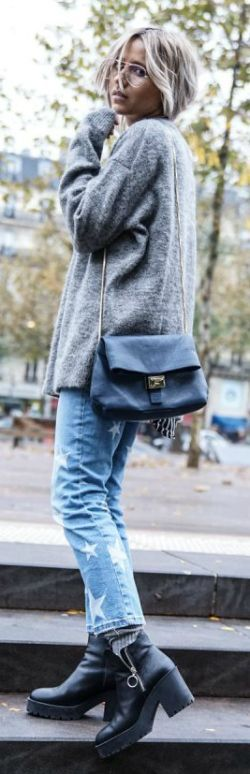 A knitted sweater + effortlessly stylish + denim jeans + chunky boots + simple + achievable + authentic + cool fall style + Camille Callen. Jumper: & Other Stories, Jeans/Shoes: Mango, Jacket: H&M.... | Style Inspiration