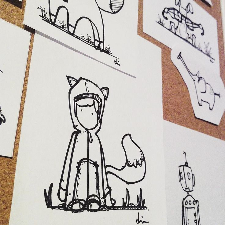 I pined some of my drawings today. This is Mr Fox Roger Robot and little Henry dressed up like a fox.  #houseofmotion #posters #tryck #tavlor #print #poster #walldecor #väggdekor #wallart #illustrationgram #illustrationartist #illustrationart #blackandwhiteart #nurseryart #doodle #drawing