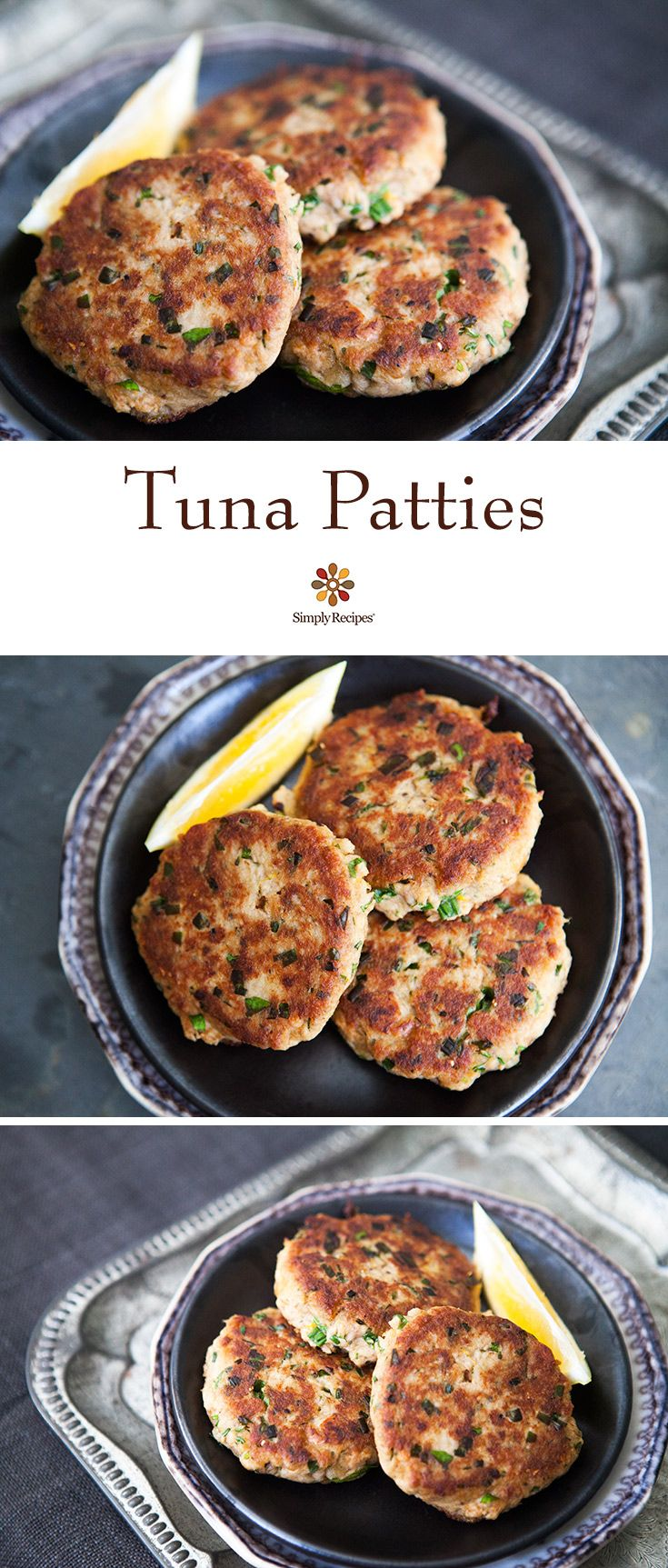 Tuna Patties ~ Quick, easy, and budget-friendly tuna patties, made with canned tuna, mustard, lemon, parsley, chives, bread, and hot sauce. ~ SimplyRecipes.com