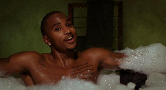 Pin for Later: The Hottest Shirtless Guys in Movies Trey Songz, Baggage Claim Damon (Trey Songz) enjoys long walks on the beach and bubble baths.