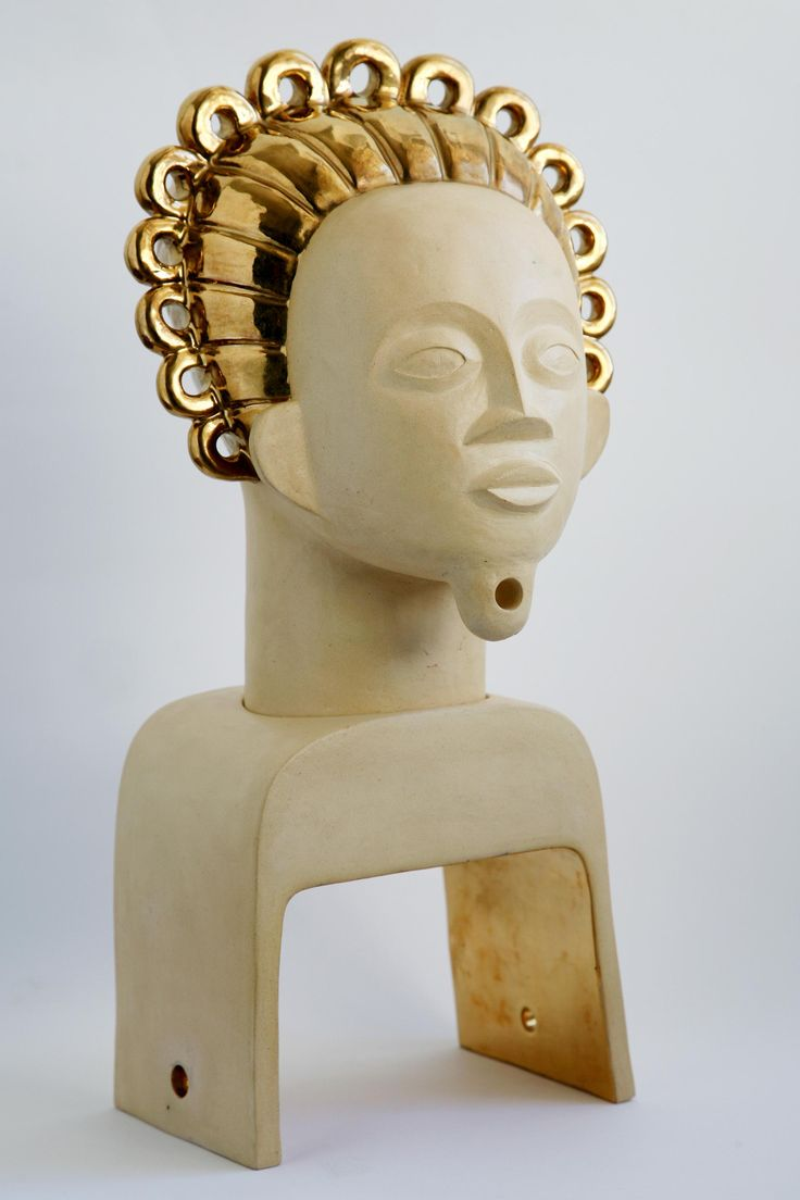 Brother Sun Ceramic and gold lustre African inspired head sculpture Belinda Ormond