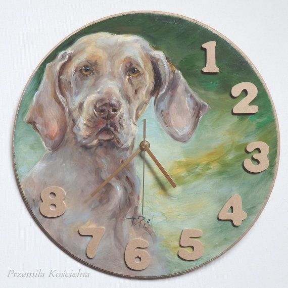Clock Weimaraner dog portrait Original Oil by CanisArtStudio
