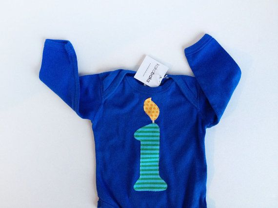 Boy First Birthday Number 1 Candle Long Sleeve Onesie Blue