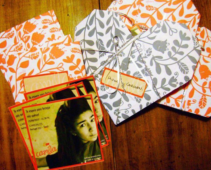 Tarjetas de 15 años / Sobres en origami - Tandil
