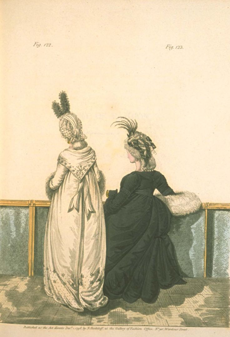 Gallery of fashion Deecmber 1796 - Half-mourning dress and mourning dress