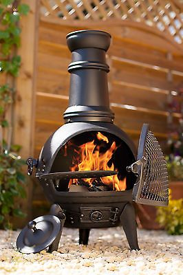 BLACK 85CM CAST IRON/STEEL MIX CHIMINEA PATIO HEATER + SWING BBQ GRILL