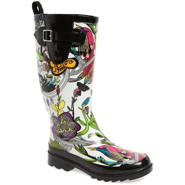 Women's Sakroots 'Rhythm' Waterproof Rain Boot (1.116.010 VND) ❤ liked on Polyvore featuring shoes, boots, optic peace, short boots, bootie boots, wellies boots, short welly boots and rubber boots