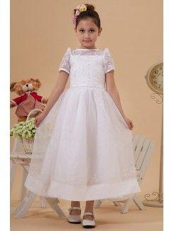 Taffeta and Tulle Jewel Ankle-Length A-Line Flower Girl Dress