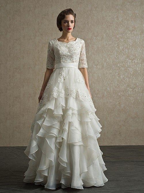 Yazmina - trapezio manicotto mezzo abito da sposa in pizzo con applique