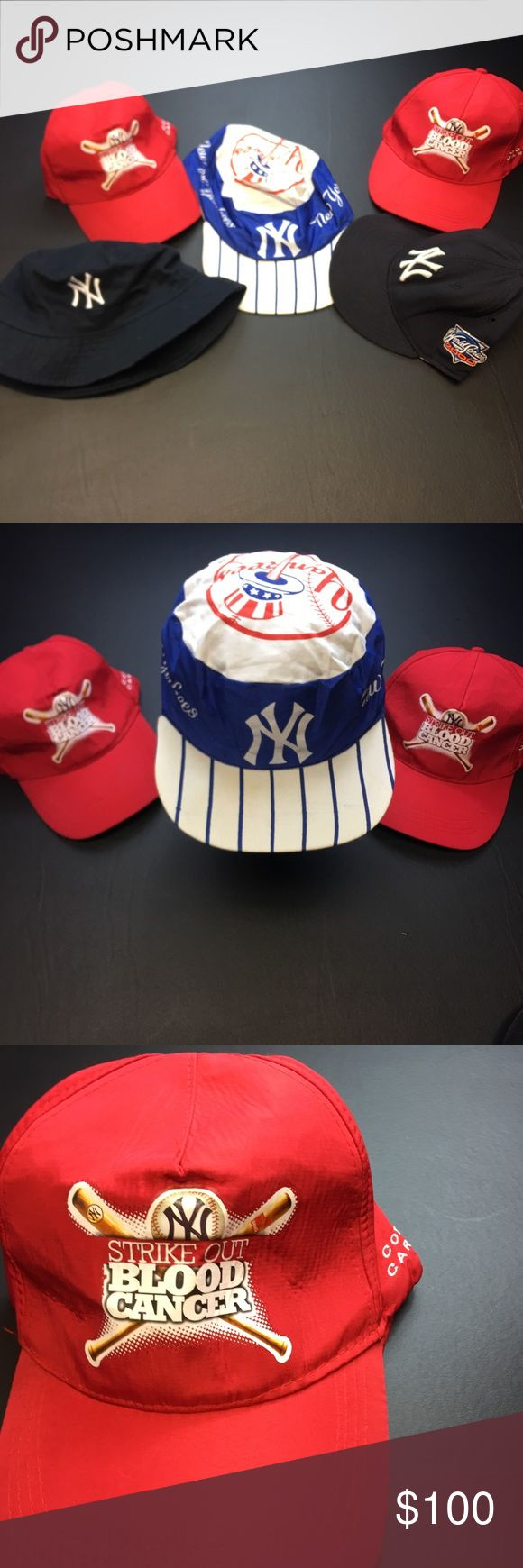 Vintage New York Yankees Hat Bundle Cool Bundle of Vintage New York Yakees Hats.  Bundle includes total of 5 Yankees Hats. Hats consist of 1- Vintage 80's Painters Snapback Hat , 2- NWT Strike Out Blood Cancer Hats, 1- Bucket Hat and 2000 World Series Hat. Vintage Accessories Hats
