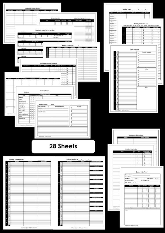 Etsy Business Planner Printables - Work At Home Planner - Online Business Printables - Household Binder - 28 sheets - Value Pack. $12.00, via Etsy.