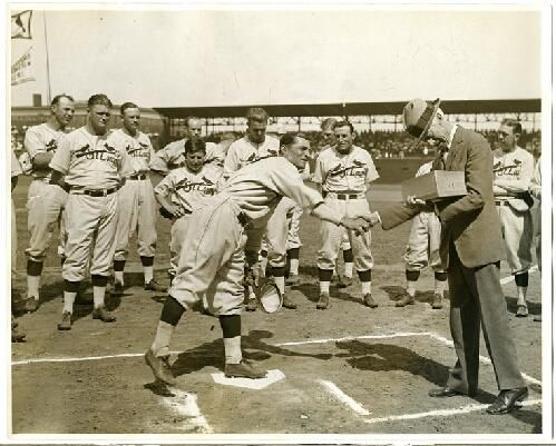 St. Louis Cardinals outfielder, Ernie Orsatti shaking hands with baseball Commissioner Judge Kenesaw Mountain Landis as he distributes World Series rings to the 1931 Cardinals team. Missouri History Museum. #MLB #Baseball #Cardinals #WorldSeries