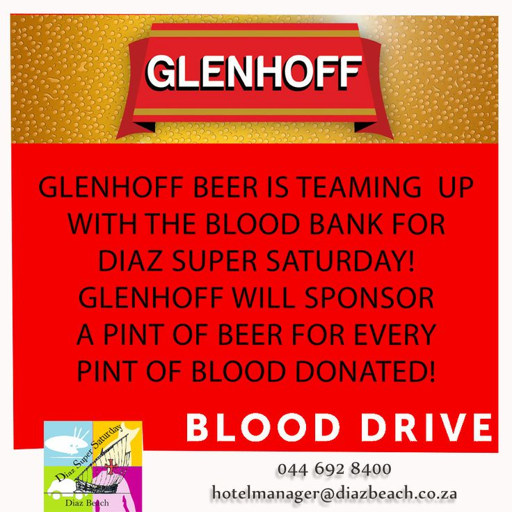 Glenhoff Beer is teaming up with the Blood Bank for the Diaz Super Saturday! Glenhoff  Beer will be sponsoring a pint of beer for every pint of blood donated! To see more of Super Saturdays events, click:  http://tinyurl.com/orov4w4 #Glenhoff #BloodBank #DiazSuperSaturday