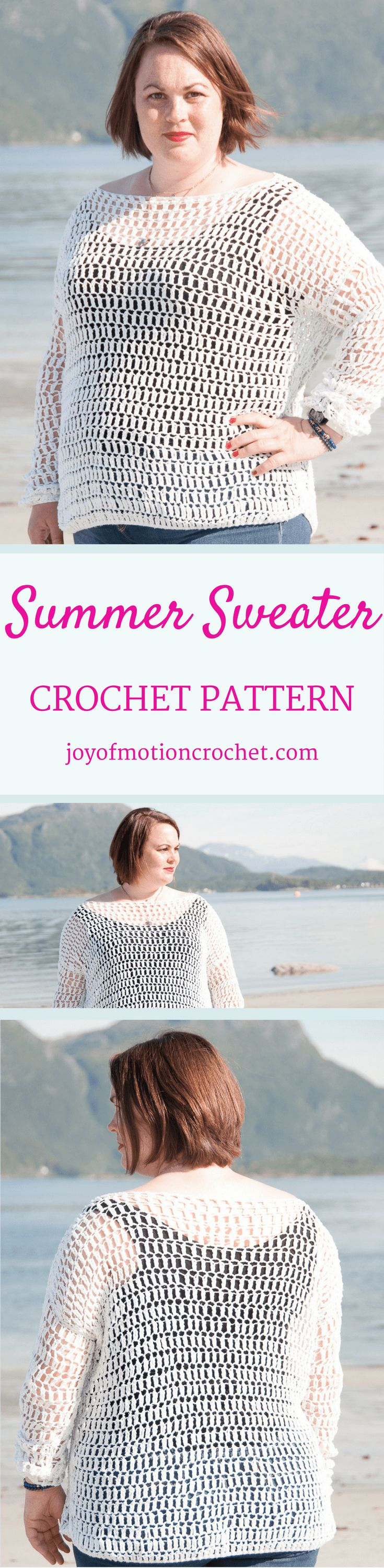 The Summer Sweater a crochet pattern. Woman's sweater crochet pattern with skill level easy. Make this fashionable crochet sweater with you own hook & yarn. Sweater crochet pattern easy for her . Crochet sweater | woman's crochet sweater | crochet pattern for her | fashionable crochet sweater | interesting crochet sweater | click to learn more or repin to save it forever. via @http://pinterest.com/joyofmotion/