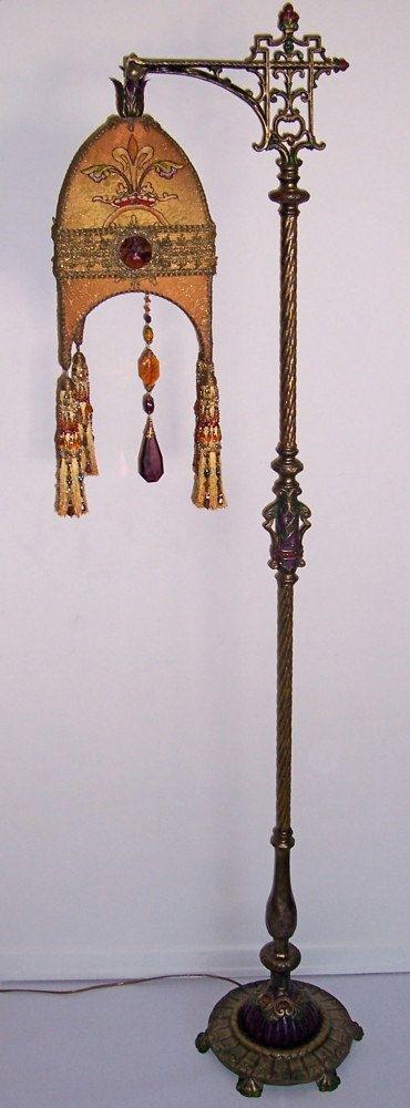 Gothic Heraldic Vestment Jeweled and Hand-Beaded Tasseled Cast iron Elaborate Bridge Lamp ~K~ !