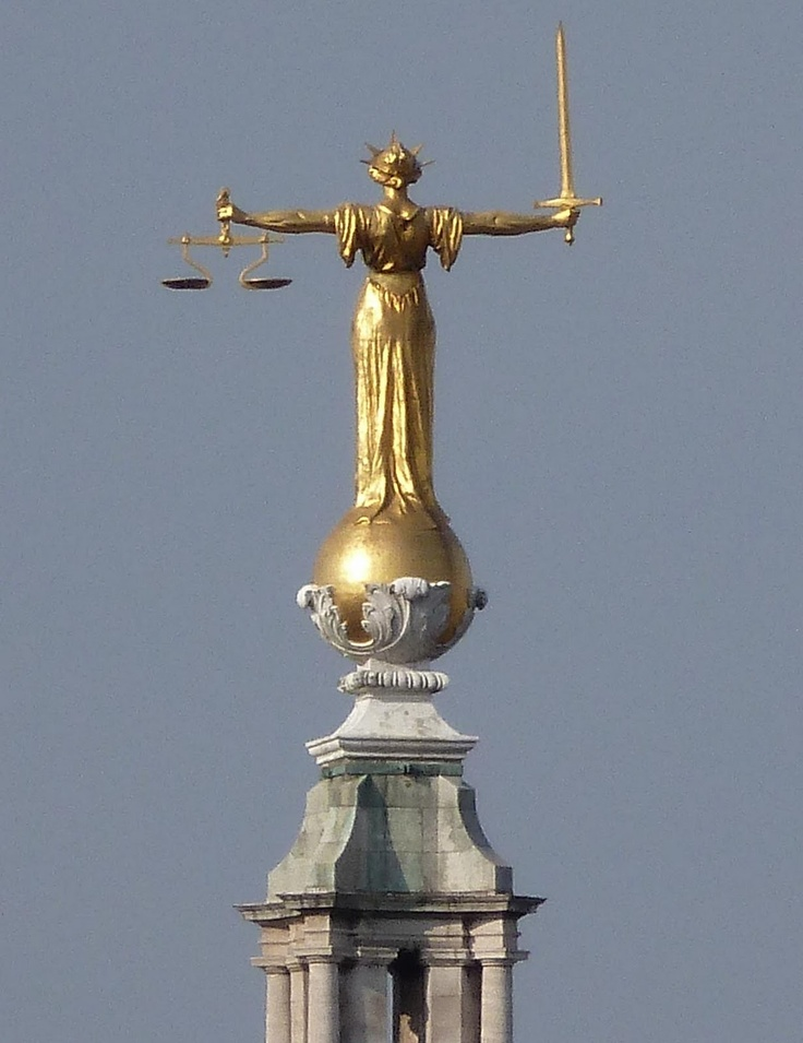 lady justice atop the old bailey, london