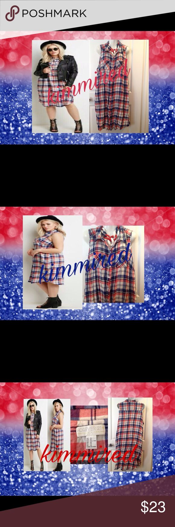 FoReVeR 21 🔴⚪️🔵Plaid Shirt Dress/Tunic~ 3X ~ EUC ✔️🇱🇷 PERFECT FOR THE JULY 4th🇱🇷 This red, white & blue plaid number has been worn by me as a shirt dress/duster/tunic. I also wore it open w/ a tank & denim/white shorts/capris. My fav was over a red sleeveless shirt dress! Uber cute & always lots of compliments!  It's sleeveless, has a button front & in excellent condition. It's wrinkled b/c hand washed & hung to dry.   Necklace❌NOT❌ included‼️ Measured laying flat & is approximate…