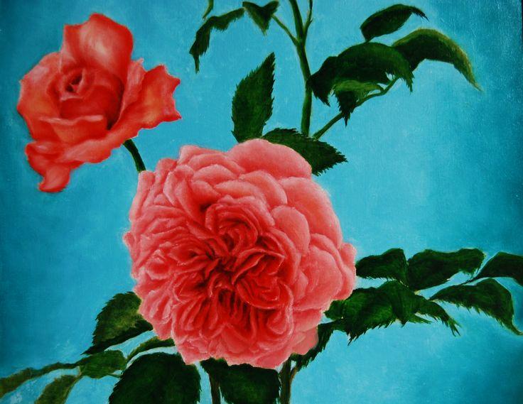 ROSE ANTICHE. UNO STUDIO (Dettaglio). Olio su tavola di Sara Calcagno, pittrice italiana contemporanea nata a Rivoli (Torino) che vive e lavora in Val d'Orcia, a Montalcino, Toscana. www.saracalcagno.it #pittricecontemporanea #saracalcagno #rose #roseantiche #roseinglesi #rosa #pittriceitaliana #pittoreitaliano #arte