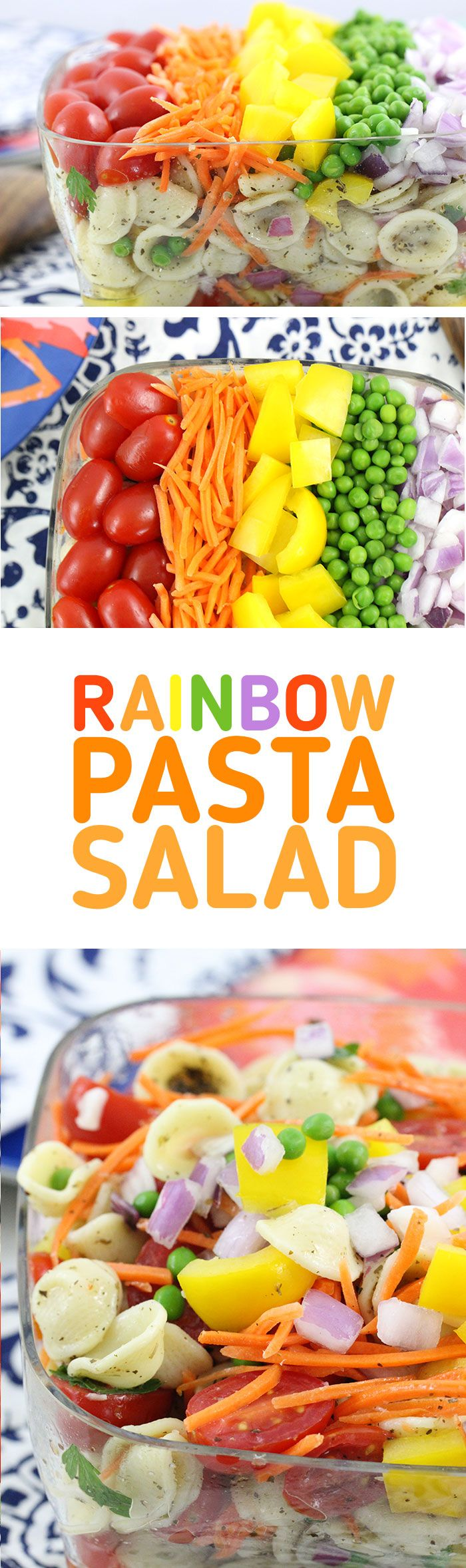 Rainbow Pasta Salad that's SO easy to make. Crowd Pleaser with colorful fresh veggies. Make extra pretty and delish with #HemisFares Orecchiette pasta. #ad
