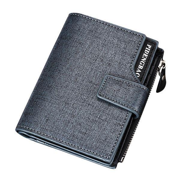 15 Card Slots Wallet PU Leather Short Card Holder Documents Bag Coin Bag For Men