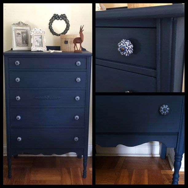Tallboy five drawer dresser. Hand painted in a custom mix of Annie Sloan…