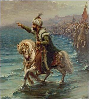 """Fatih Sultan Mehmet HADİS :Letüftehanne'l Kostantıniyyete, ve le ni'mel emrü zâlike'l emr, ve le ni'mel ceyşü zâlike'l ceyş"""" Yani: """"Kostantiniye, bir gün fetholunacaktır. Onu fetheden asker ne güzel asker, onu fetheden komutan ne güzel komutandır.""""Hz. Muhammed S. A. V."""